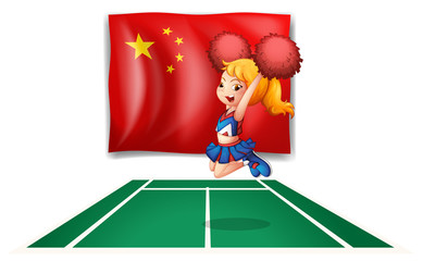 The flag of China and the young cheerdancer