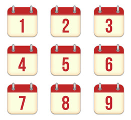 Vector calendar app icons. 1 to 9 days
