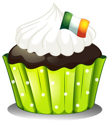 A big chocolate cupcake with the Ireland flag