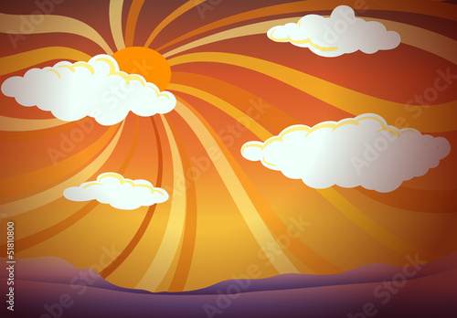 A sunset view with clouds