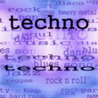 illustration of techno music word background, texture