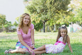 Mom and her daughter in the park