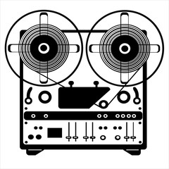vector reel tape recorder on white background