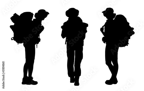 set of female backpacker silhouettes