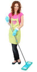 Young housewife with mop, isolated on white