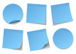 Set Of 6 Blue Stick Notes
