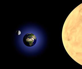 Terra luna e sole nello spazio