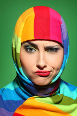 girl in a colorful scarf