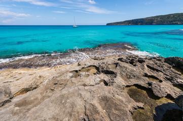 Es Caló coastline in Formentera island