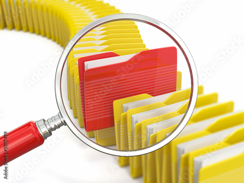 Files search. Folders and loupe on white background.