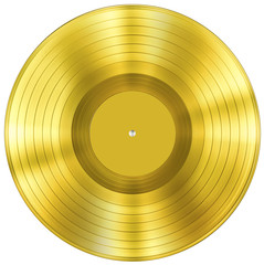 gold disc music award isolated on white