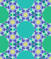 Violet Flower Geometric Seamless Pattern