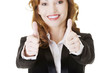 Business woman with thumbs up, ok gesture