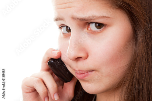 Teenager girl and mobile phone