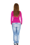 Young casual woman from behind