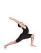 Yoga warrior pose on white