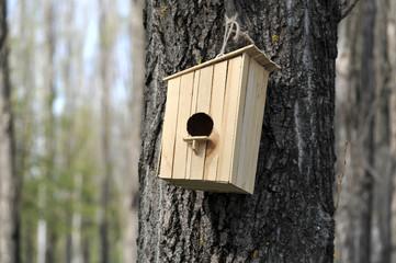 wooden birdhouse on the tree