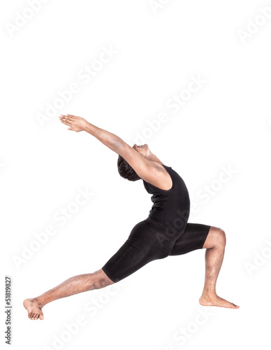 Yoga warrior pose on white