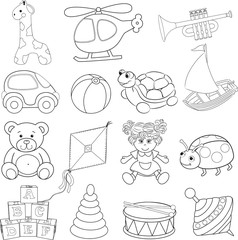 Baby's toys set. Outlined. Vector illustration
