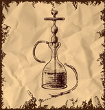 Hookah icon on vintage background