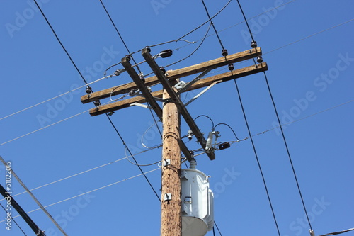 Telegraph poles against a blue sky
