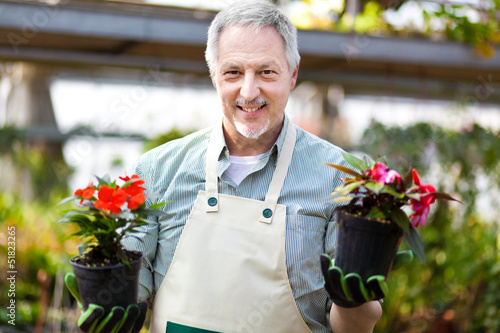 Florist in a greenshouse holding flower pots