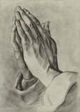 hands in pray pose. pencil drawing.