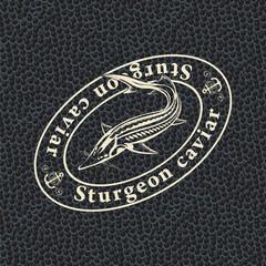 Black screen with sturgeon fish