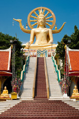 Big golden Buddha statue in Wat Phra Yai Temple. Koh Samui