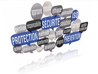 nuage de mots 3d : sécurité protection