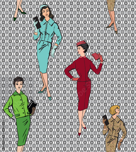fashion women (1950's 1960's style) seamless background - 51826422