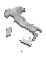 Italy gray map on white