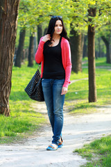 brunette woman in the park