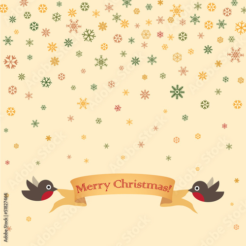 Christmas and New Year greeting card with ribbon, robin