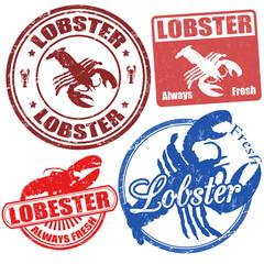 Set of lobster stamps