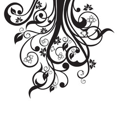 Flowers, leaves and swirls silhouette in black isolated