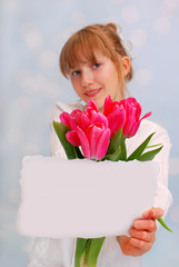 flowers and greeting card for you