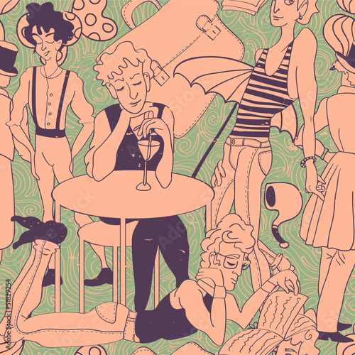 Retro seamless pattern with drawn people - 51829254