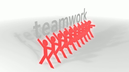 Human-like cut out teamwork concept animation.