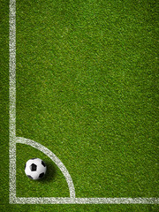 Soccer ball in corner kick position. Football field top view.