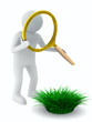 Man with magnifier and grass. Isolated 3D image