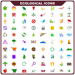 vector illustration of complete set of ecological icon