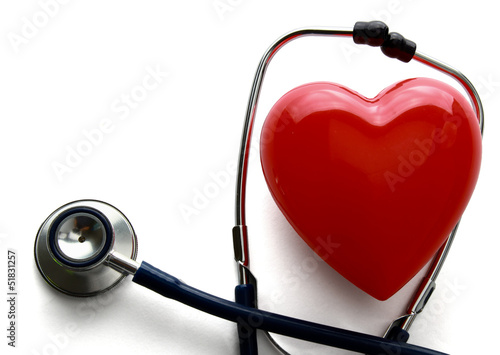 A heart with a stethoscope