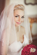 Pretty bride in wedding dress