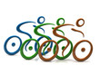 Blue, green and orange cyclist icon