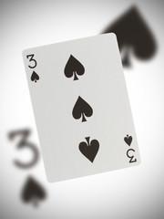 Playing card, three of spades
