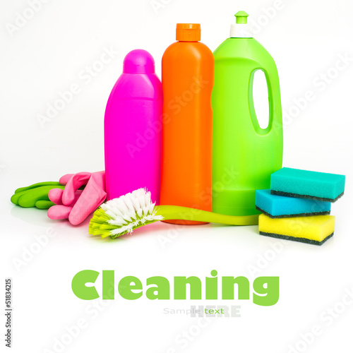 cleaning supplies and gloves i