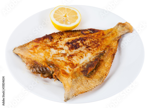 fried sole fish on white plate