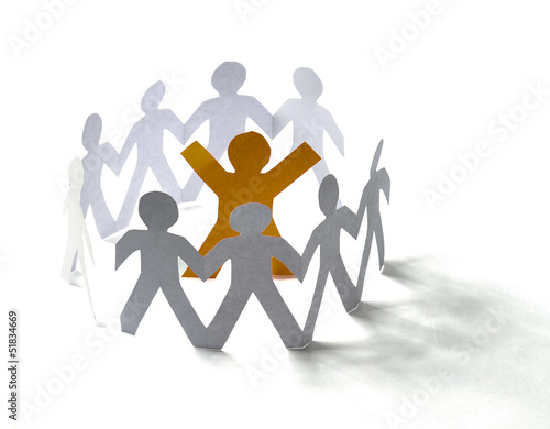 White paper people standing in a cycle