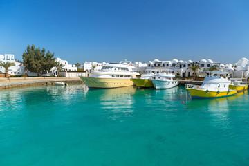 Boat harbor in Hurghada, Egypt